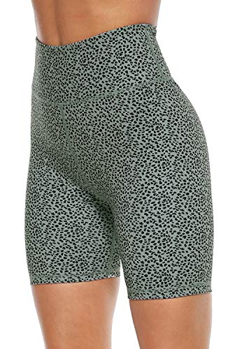 PERSIT Yoga Shorts for Women SpandexHigh Wasited Running Athletic Bike Workout Leggings Tight Fitness Gym Shorts with Pockets - Bean Green Leopard - L