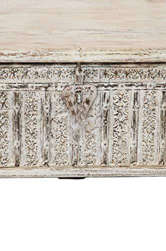 Orientalische Truhe Kiste Holz Ajala 121cm groß in Shabby Weiß | Vintage Sitzbank mit Aufbewahrung für den Flur | Aufbewahrungsbox mit Deckel im Bad | Betttruhe als Kissenbox oder Deko im Schlafzimmer - 5