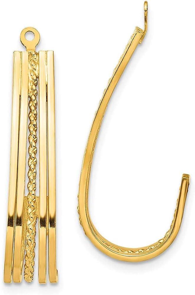 14k Yellow Gold J-Hoop Earring Jackets