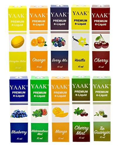 YAAK® Premium E-Liquid 10 x 10 ml ohne Nikotin / E-Zigaretten, Elektrische-Zigarette, E-Shisha / Fruchtgeschmack Honigmelone, Orange, Beeren Mix, Vanille, Kirsche, Blaubeere, Wassermelone Minze, Mango, Kirsche Minze, Guan Yin Tee / Kamelie