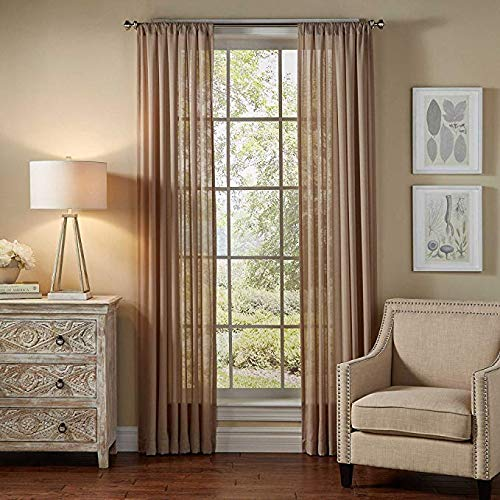 """Jasmine Linen 2 Piece Sheer Luxury Curtain Panel Set for Kitchen/Bedroom/Backdrop 84"""" Inches Long (Taupe)"""