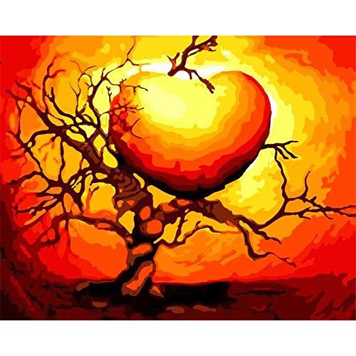 yaonuli Sala de Estar Pared Digital Dibujado a Mano Pintura Amor árbol Abstracto Pintura al óleo 40x50cm Sin Marco