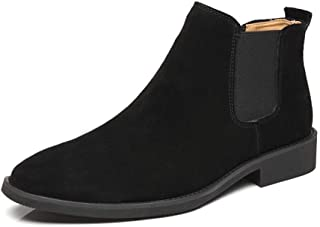 ZHANGLEI Casual Ankle Boots for Men Chelsea Boot Pull on Suede Pointed Toe Block Heel Elastic Sides Anti-Slip (Fleece Lined Optional) (Color : Black, Size : 2.5 UK Child)