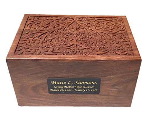 NWA Large Size Personalized Wood Engraved Human Cremation Urn