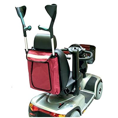 Kozee Komforts Universal Wheelchair Scooter Bag Carries 2 Crutches or Walking Sticks - Maroon