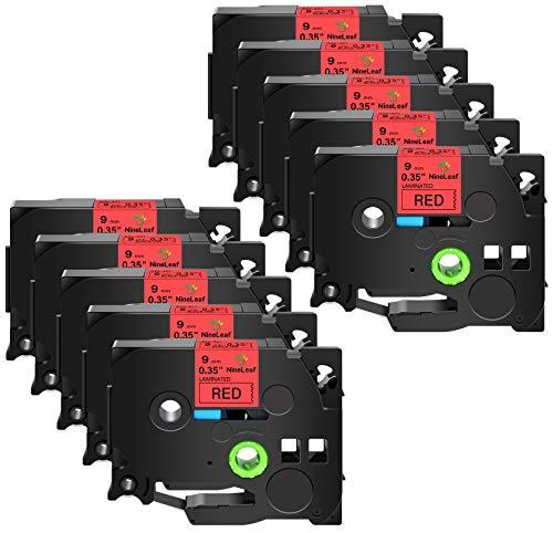 NineLeaf 10 Pack Compatible for Brother TZe-421 TZe421 TZ-421 TZ421 Label Tape 9mm 3/8'' Black on Red Standard Laminated TZ TZe Tapes Work with P-Touch PT-D210 PTD400AD PTH110 PT-D600 Label Maker