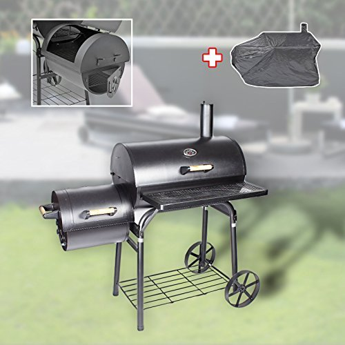 Profi Smoker Grillwagen Holzkohle Stahl BBQ Grill XL Smoker + Abdeckhaube