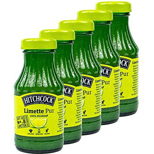 Hitchcock - 5er Pack Premium Limettensaft Pur 100 % Direktsaft - Saft aus ca. 8 Limetten in 0,2 Liter Glasflasche