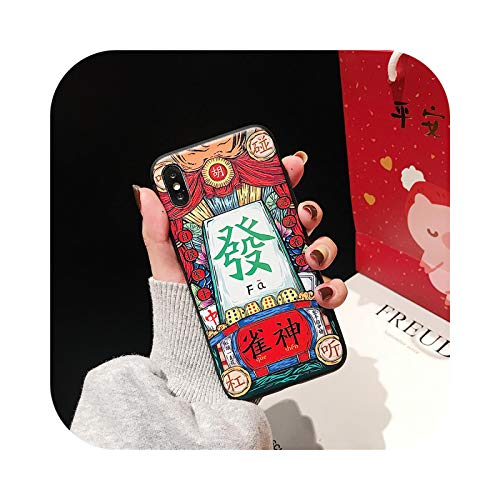 Schutzhülle für iPhone X XS Max XR 8 7 6 6S Plus, Silikon, weich, 3D-Prägung, Malerei, chinesisches Mahjong, Gambling God King Phone Case Cover Shell Gambling God-Fa für iPhone X XS