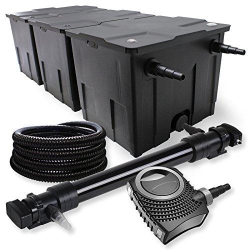 SunSun 3-Kammer Filter Set 90000l 72W UVC 6er Teich Klärer NEO10000 80W Pumpe Schlauch