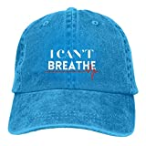 Lsjuee I Cant Breathe Gorras de béisbol Ajustables Sombreros de Mezclilla Sombrero de Vaquero Retro ...