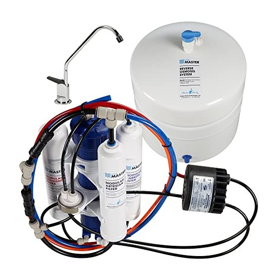 Home master tmafc-erp artesian full contact undersink reverse osmosis water filter system , white 1 a better ro system | home master artesian full contact's innovative design solves most common problems associated with cannister and tankless ro systems. Mineral water on tap | patented remineralization system adds calcium and magnesium twice during the purification process for reduced storage tank degradation and great tasting, highly pure mineral water on tap. Highly pure water | 7-stages of filtration, purification and enhancement remove up to 99% of chlorine & chloramines, chemicals, lead, heavy metals, fluoride, microplastics, tds, and thousands more. Bpa and lead free. 5 year limited warranty.