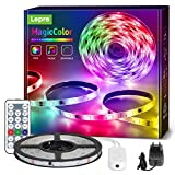Lepro LED Strip 5M, LED Streifen Lichterkette MagicColor Musik mit Fernbedienung, Band Lichter...