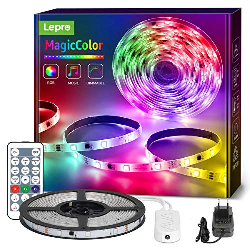 Lepro LED Strip 5M, LED Streifen Lichterkette MagicColor Musik mit Fernbedienung, Band Lichter Wasserdicht IP65, RGB Dimmbar Lichtleiste Light, Lichtband Leiste, Kette Bunt für Party Weihnachten Deko