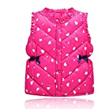 Girls' Lightweight Water-Resistant Pack-able Puffer Vest Rose Red Cute Love Printing Winter Down Cotton Clothes Outwear(Rosered,3-4Years)