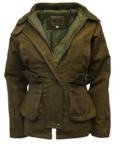 Walker and Hawkes Damen Country-Jacke aus Tweed - für die Jagd geeignet - Muster mit roten Streifen - Größen 34 bis 48