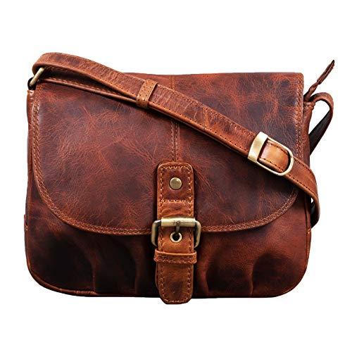 STILORD 'Iris' Leder Handtasche Damen klein Vintage Umhängetasche zum Ausgehen Klassische Abendtasche Partytasche Freizeittasche Echtleder, Farbe:Kara - Cognac
