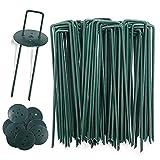 AGAKY 45 Grapas para Jardín + 10 Arandelas de Seguridad, Césped Artificial, Estacas de Fijación para Mallas, Clavo Metal Galvanizado