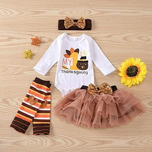 Newborn Baby Girl Outfits My First Thanksgiving Romper+Turkey Leg Warmers+Tutu Dress+Sequins Bunny Headband Clothes Set