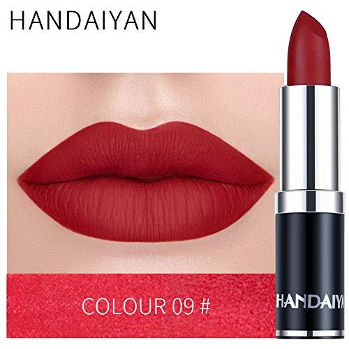 zroven HANDAIYAN Professional Matte 12 colori trucco rossetto labbra rossetto impermeabile lunga durata pigmento velluto opaco rossetto labbra opaco (9#)