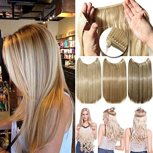 Geheime Stirnband Draht in Natürlichen Haarverlängerung Gummiband Haarteile Ombre für Frauen 50cm Gewellt -Hellbraun & Graublond