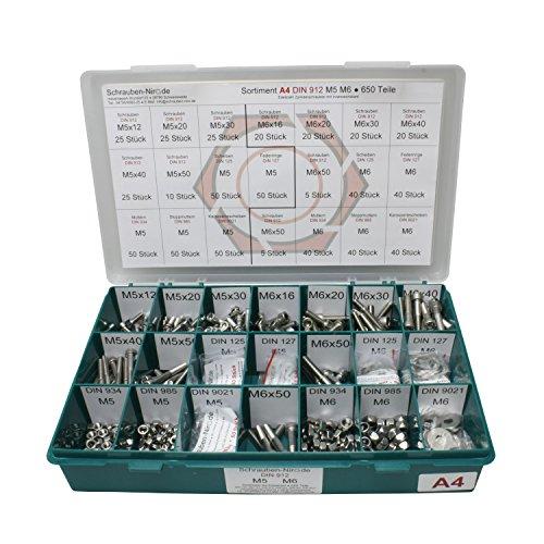 Sortiment M5 + M6 DIN 912 Edelstahl A4 (V4A) Zylinderschrauben (Innensechskant) - Set bestehend aus Schrauben, Unterlegscheiben (DIN 125, 127, 9021) und Muttern (DIN 934, 985) - 650 Teile