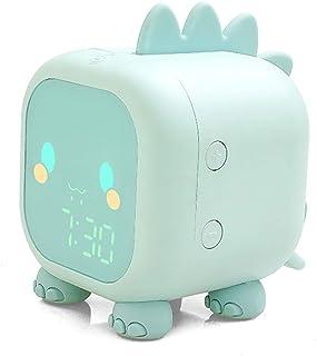 Réveil pour enfants, Réveil numérique dinosaure mignon pour enfants Horloge de chevet Trainier de sommeil pour enfants, Lu...