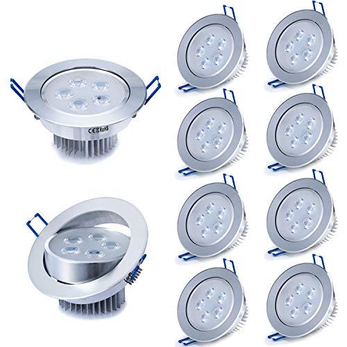 Liqoo 10 x 5W LED da incasso, Faretti da incasso, Lamapda da soffitto, Lampada a risparmio energico Bianco AC 85-265V 500 Lumen 6000K con trasformatore