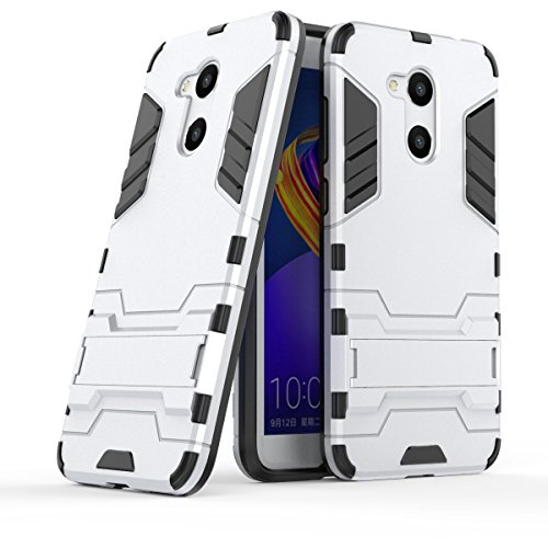 Huawei Honor 6C Pro Hülle, Huawei Honor V9 Play Hülle, MHHQ Hybrid 2in1 TPU+PC Schutzhülle Rugged Armor Hülle Cover Bumper Backcover mit Ständer für Huawei Honor 6C Pro/Honor V9 Play -Silver