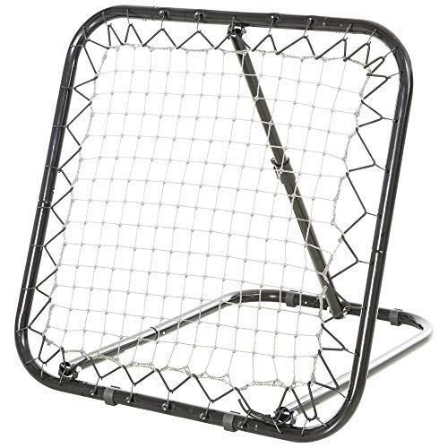 HOMCOM Baseball Rebounder Kickback Tor Rückprallwand Netz Rückprall Faltbar Metall+PE Schwarz 78 x 84 x 75 cm