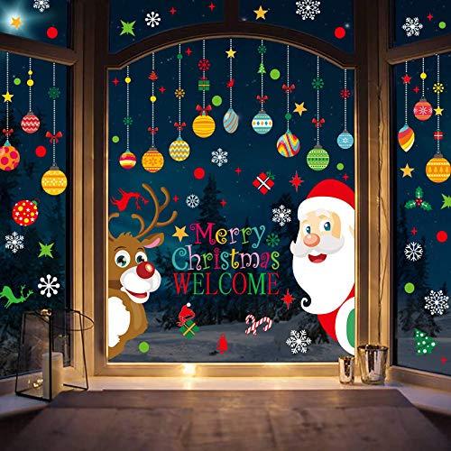 Feliz Navidad Pegatinas de Navidad Ventana, Divertidos Saludos Extraíbles Decoracion Navideña Regalos para Escaparates, Alce de navidad Papá Noel Vinilos Pegatinas de Pared Reutilizable 2 Piezas
