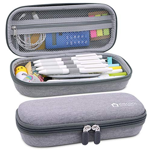 Aiscool Hard Pen Pencil Case Pouch Holder Bag Big Capacity Stationery Box for School Supplies Office Stuff Gray