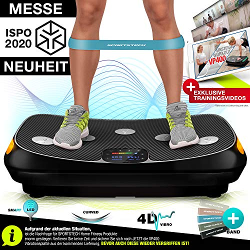 Messe-Neuheit 2020! 4D Vibrationsplatte VP400 im Curved Design + Trainings-Videos, Color Touch Display, Riesen Fläche, Smart LED Technologie + Remote-Watch, Trainingsbänder, Übungsposter & Schutzmatte