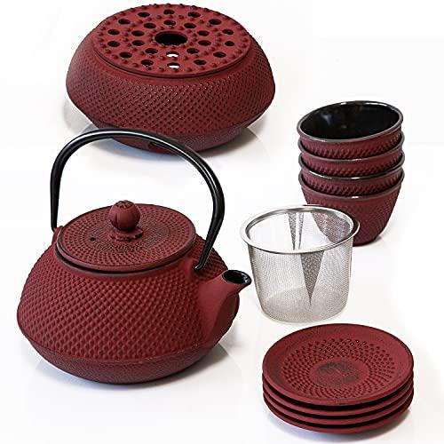 Weltbild Asia-Teekanne Gusseisen Set - Japanische Teekanne Gusseisen Set, Stövchen & 4x Becher mit Untersetzer auch als Geschenkset Tee Teekanne mit Siebeinsatz als japanisches Geschirr Tee Set
