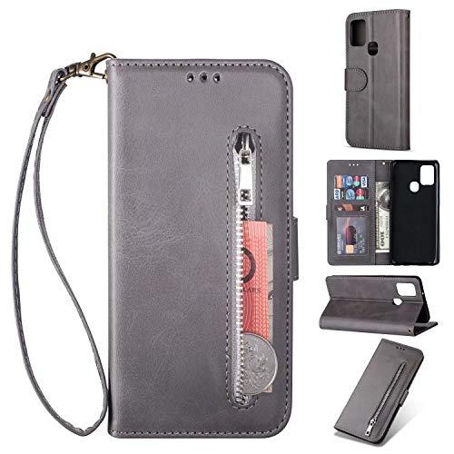 Miagon für Samsung Galaxy A21S Handyhülle,PU Lederhülle Magnetverschluss Kartenfächern Standfunktion Brieftasche Flip Wallet Case Cover mit Reißverschluss
