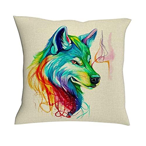 AlineAline Funda de cojín con diseño de lobo de arco iris, diseño de mandala indio, tribal, lobo y obras de arte, 45,7 x 45,7 cm