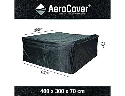 AeroCover 7936 Ademende, vorstbestendige en waterdichte beschermhoes in antraciet voor loungemeubels, in praktische draagtas, 400 x 300 x 70 cm