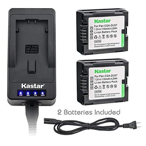 Kastar LED Super Fast Charger & Camcorder Battery X2 for Panasonic CGR-DU06 CGA-DU07 CGR-DU07 NV-GS330 GS508 MX500 PV-GS180 GS400 GS500 SDR-H48 H250 H280 VDR-D160 D308 D310 D400 M55 M70 M75 M95 M250