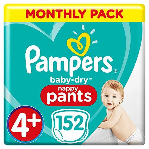 Pampers Baby-Dry Windelhose Größe 4+, 152 Windelhöschen, Monatspackung, Easy-On mit Luftkanälen für bis zu 12 Stunden atmungsaktive Trockenheit, 9-15 kg