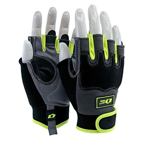 Soft Touch Tiler Arbeitshandschuhe Montagehandschuhe Schwarz - Fingerlose Handschuhe zum Fliesenlegen - 9 / L - 1 Paar