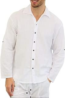 Pure Cotton Men's White Shirt- 100% Cotton Casual Hippie Shirt Long Sleeve Beach Yoga Top | The Perfect Summer Shirts for Men
