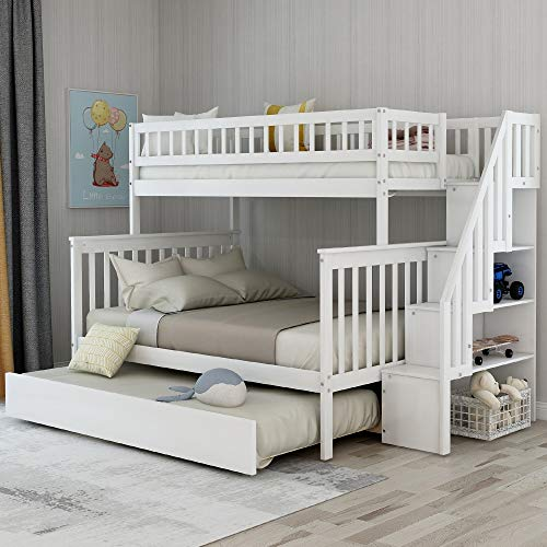Best Review Of Stairway Bunk Beds Twin Over Full Size for Kids with 4 Drawers in The Steps & a Full ...