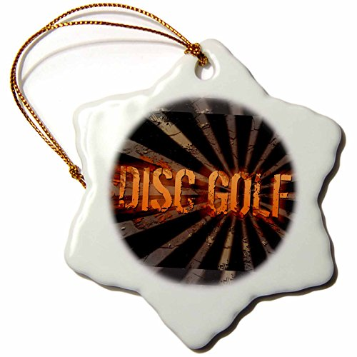 3dRose orn_19462_1 Grunge Explosion Disc Golf Text with Grunge and Starbursting Effects Snowflake Ornament, Porcelain, 3-Inch