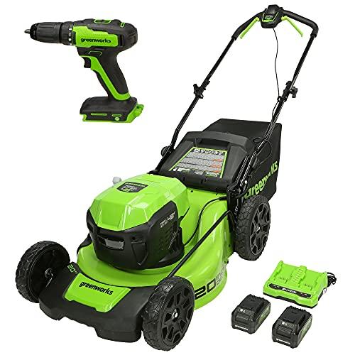 Greenworks 48V (2 x 24V) 20-Inch Brushless Cordless Push Lawn Mower, (2) 4.0Ah USB Batteries (USB Hub) and Dual Port Rapid Charger + 24V Brushless Drill / Driver