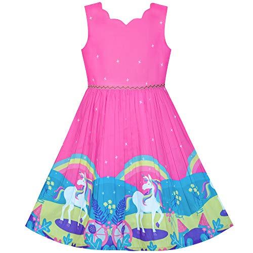 Mädchen Kleid Einhorn Regenbogen Ärmellos Tief Rosa Prinzessin Gr. 134