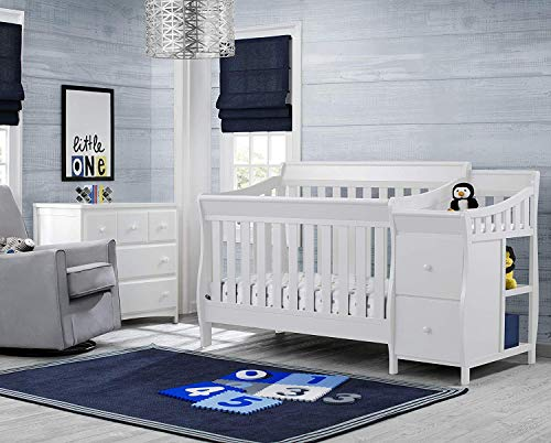 Delta Children Bentley S Convertible Crib N Changer, White + Serta Perfect Slumber Dual Sided Recycled Fiber Core Crib and Toddler Mattress (Bundle)