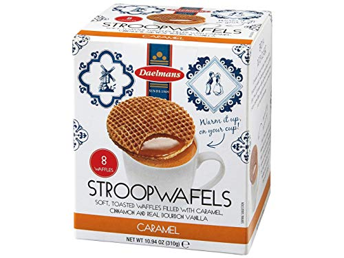 DAELMANS Stroopwafels, Dutch Waffles Soft Toasted, Chocolate, Office Snack, Jumbo Size, Kosher Dairy, Authentic Made In Holland, 8 Stroopwafels Per Box (2 Pack)