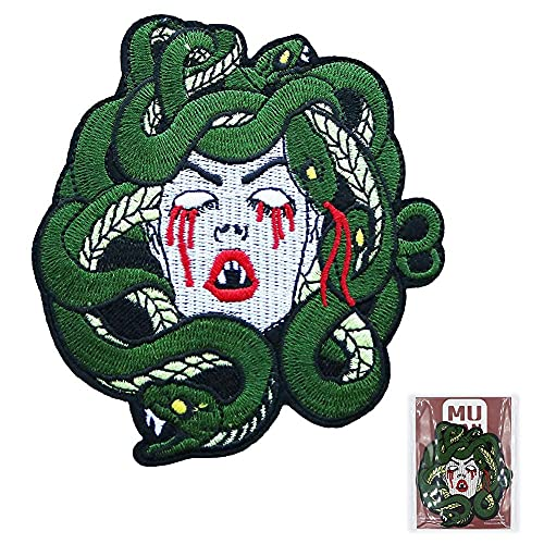 Sad Bleeding Medusa Patch Cool Iron On Patch Sewing Anime Embroidered Patch Badge Applique for Clothes Jacket Jeans Cap Bag
