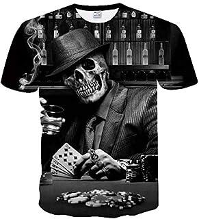 TX-254 5XL Skull Printed 3D T Shirt Men Women Short Sleeve Summer Tee Tops for Male Poker Design Tee Shirt Homme Drop Ship