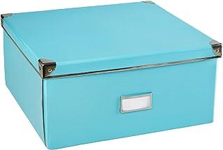 Idena 11009 - Boîte de rangement en carton rigide avec couvercle renforcé en métal, avec plaque d'étiquetage d'environ 36 ...
